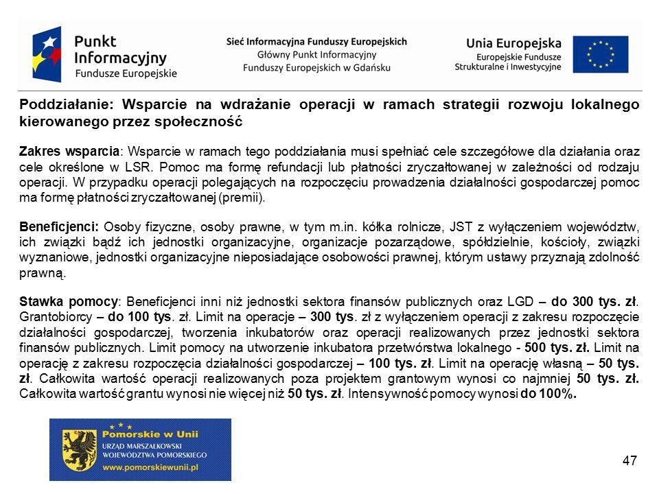 """Poddziałanie: Wsparcie na wdrażanie operacji w ramach strategii rozwoju lokalnego kierowanego przez społeczność LGD może być Beneficjentem jedynie w przypadku: """"operacji własnych LGD (bez uszczerbku dla art."""
