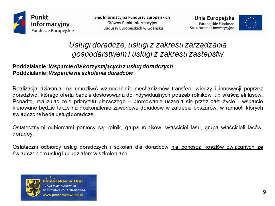 Poddziałanie: Wsparcie dla korzystających z usług doradczych (Świadczenie kompleksowej porady dla rolnika) Zakres porad (m.