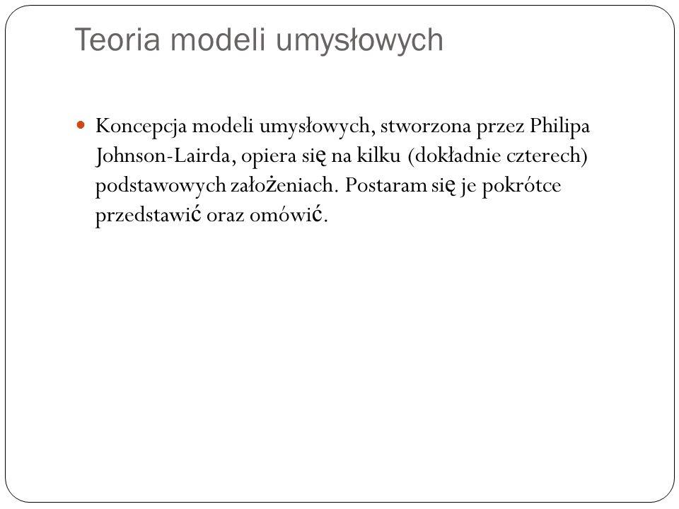 Teoria modeli umysłowych Koncepcja modeli umysłowych, stworzona przez Philipa Johnson-Lairda, opiera si ę na kilku (dokładnie czterech) podstawowych z