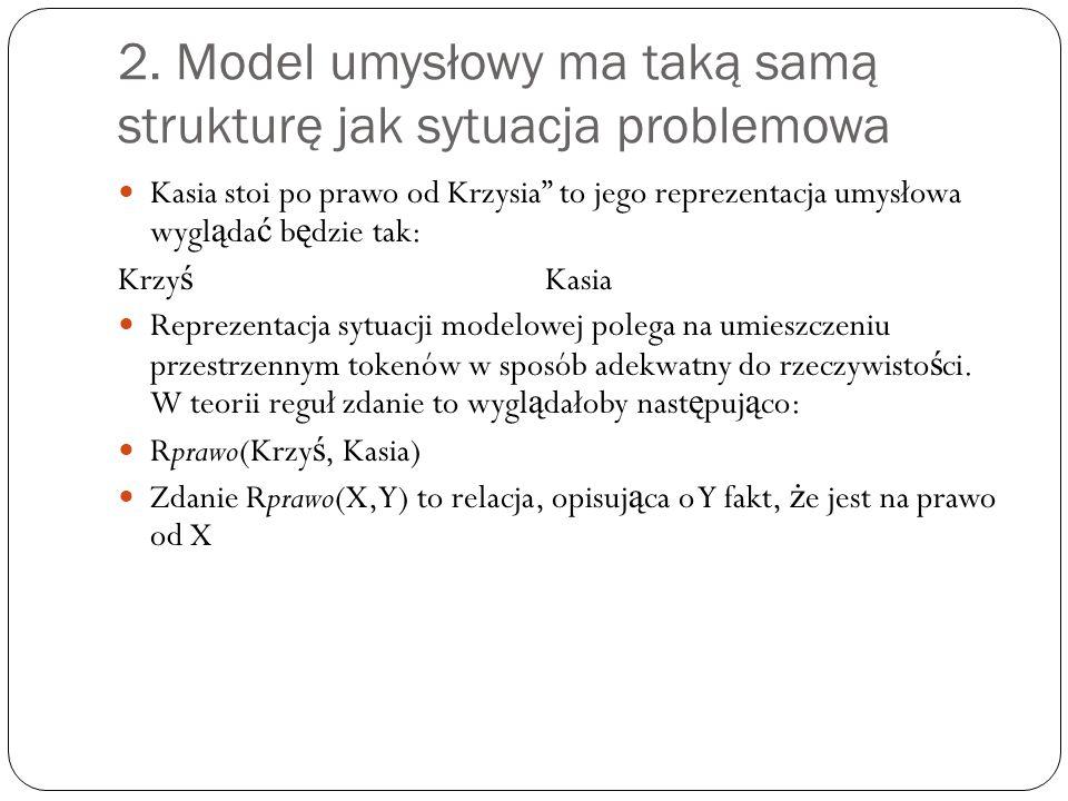 """2. Model umysłowy ma taką samą strukturę jak sytuacja problemowa Kasia stoi po prawo od Krzysia"""" to jego reprezentacja umysłowa wygl ą da ć b ę dzie t"""