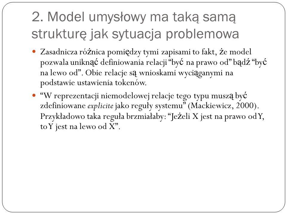 2. Model umysłowy ma taką samą strukturę jak sytuacja problemowa Zasadnicza ró ż nica pomi ę dzy tymi zapisami to fakt, ż e model pozwala unikn ąć def