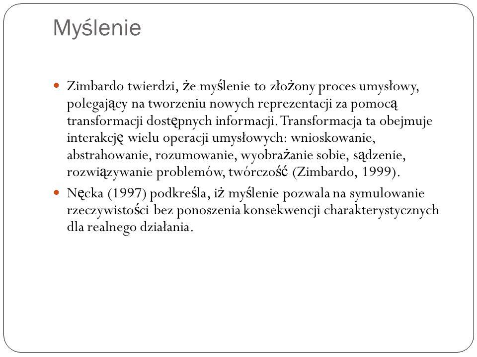 Myślenie Zimbardo twierdzi, ż e my ś lenie to zło ż ony proces umysłowy, polegaj ą cy na tworzeniu nowych reprezentacji za pomoc ą transformacji dost