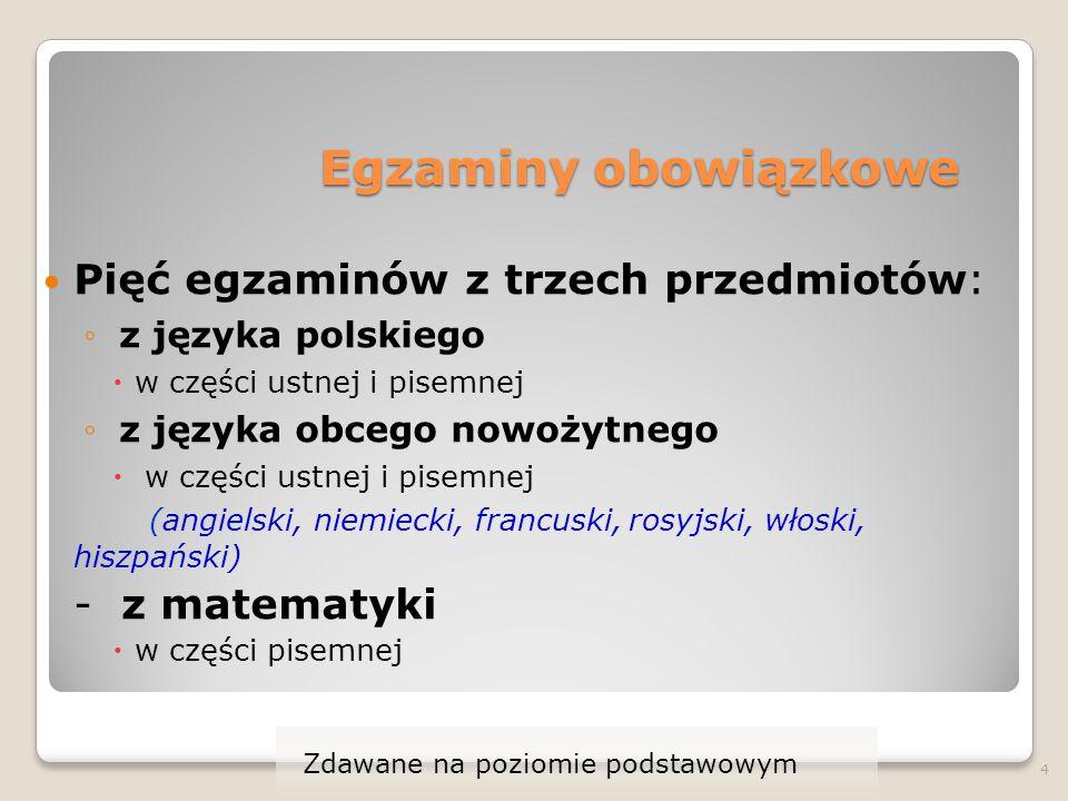 Egzaminy obowiązkowe Pięć egzaminów z trzech przedmiotów: ◦ z języka polskiego  w części ustnej i pisemnej ◦ z języka obcego nowożytnego  w części u