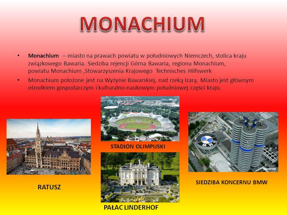 Monachium – miasto na prawach powiatu w południowych Niemczech, stolica kraju związkowego Bawaria. Siedziba rejencji Górna Bawaria, regionu Monachium,