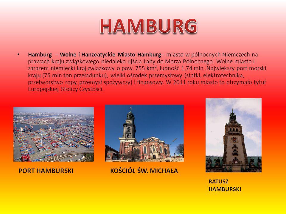 Hamburg – Wolne i Hanzeatyckie Miasto Hamburg– miasto w północnych Niemczech na prawach kraju związkowego niedaleko ujścia Łaby do Morza Północnego. W