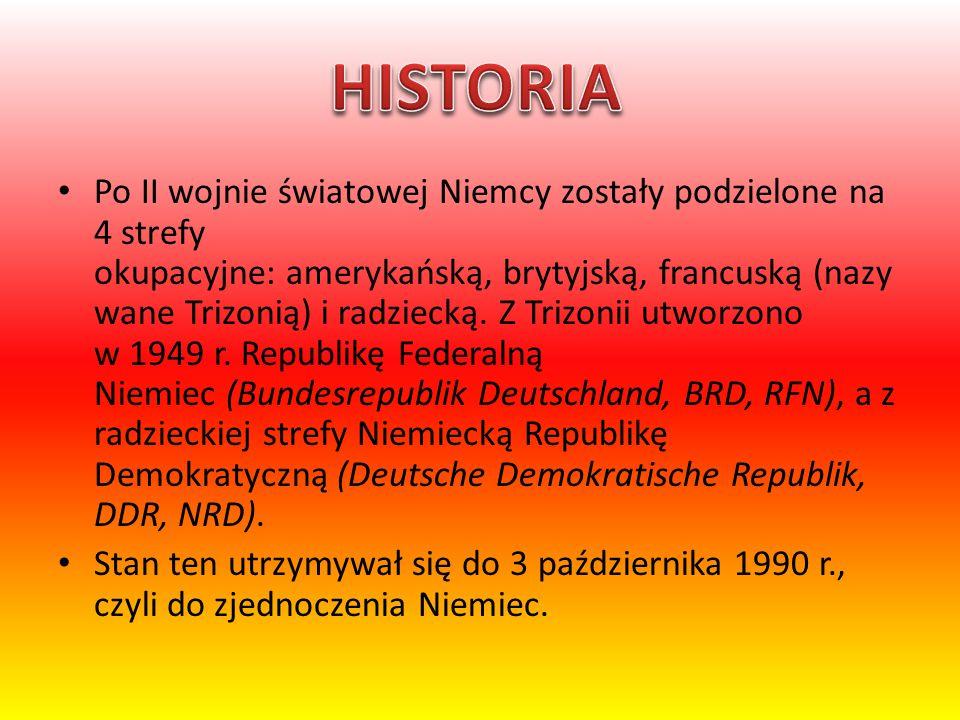 Po II wojnie światowej Niemcy zostały podzielone na 4 strefy okupacyjne: amerykańską, brytyjską, francuską (nazy wane Trizonią) i radziecką. Z Trizoni