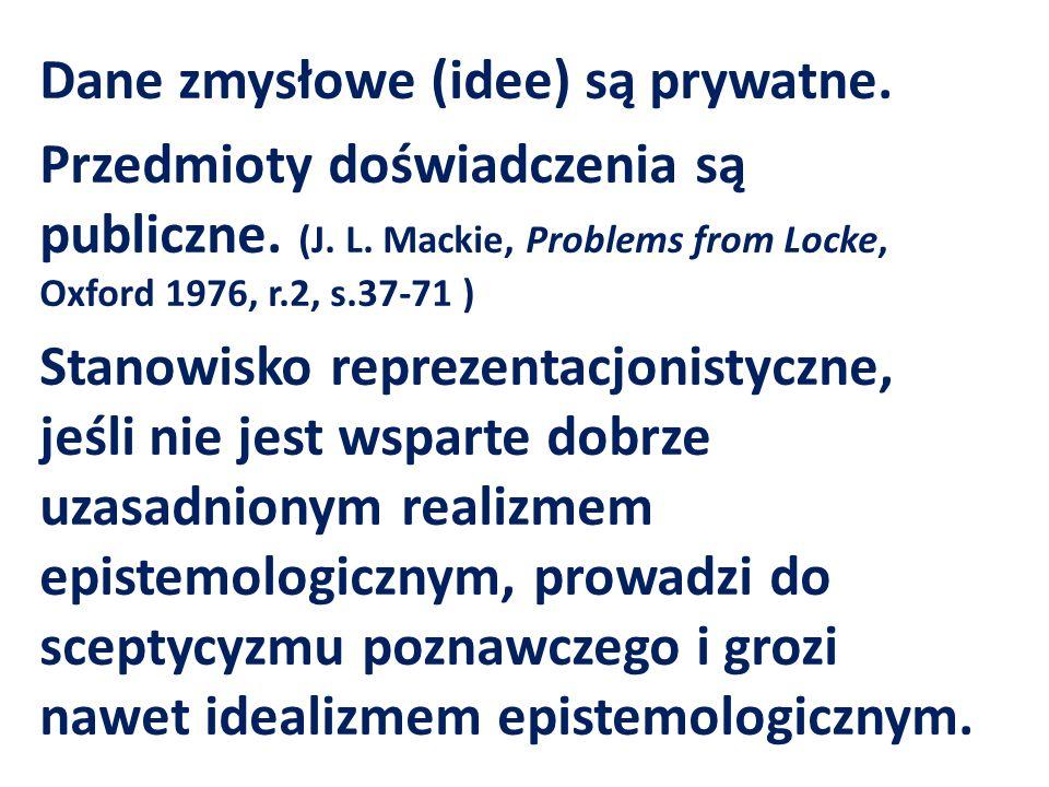 Dane zmysłowe (idee) są prywatne. Przedmioty doświadczenia są publiczne. (J. L. Mackie, Problems from Locke, Oxford 1976, r.2, s.37-71 ) Stanowisko re