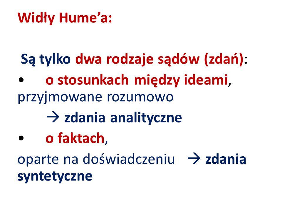 Widły Hume'a: Są tylko dwa rodzaje sądów (zdań): o stosunkach między ideami, przyjmowane rozumowo  zdania analityczne o faktach, oparte na doświadcze