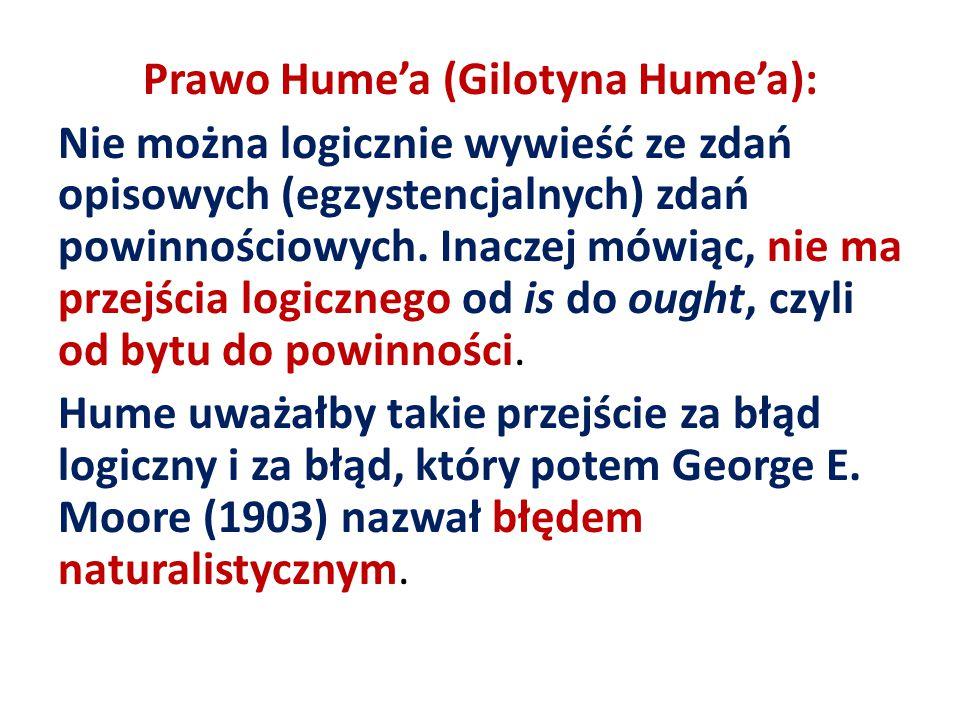Prawo Hume'a (Gilotyna Hume'a): Nie można logicznie wywieść ze zdań opisowych (egzystencjalnych) zdań powinnościowych. Inaczej mówiąc, nie ma przejści