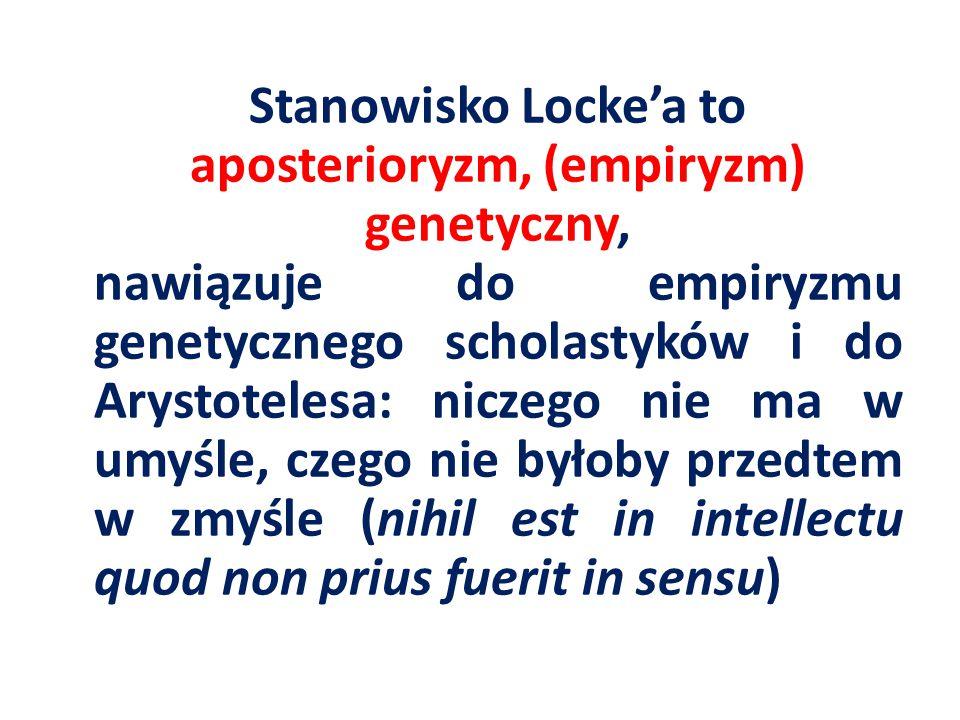 Stanowisko Locke'a to aposterioryzm, (empiryzm) genetyczny, nawiązuje do empiryzmu genetycznego scholastyków i do Arystotelesa: niczego nie ma w umyśl