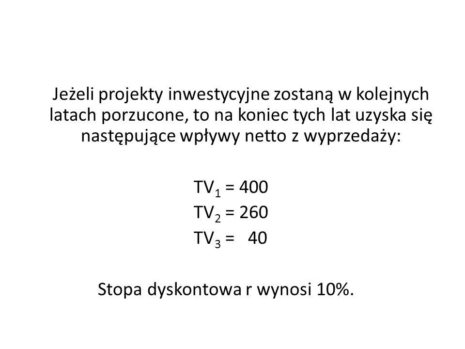 Jeżeli projekty inwestycyjne zostaną w kolejnych latach porzucone, to na koniec tych lat uzyska się następujące wpływy netto z wyprzedaży: TV 1 = 400