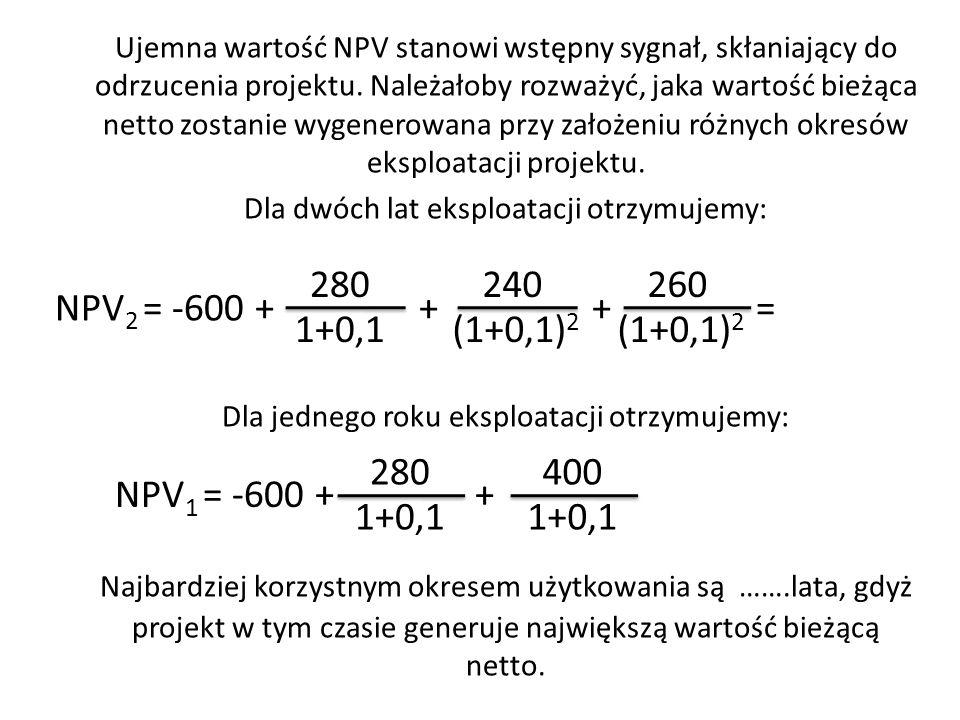 Ujemna wartość NPV stanowi wstępny sygnał, skłaniający do odrzucenia projektu. Należałoby rozważyć, jaka wartość bieżąca netto zostanie wygenerowana p