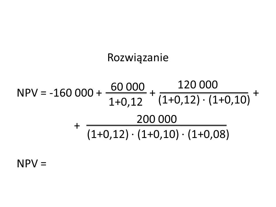 Rozwiązanie NPV = -160 000 + + + NPV = 60 000 1+0,12 120 000 (1+0,12) ∙ (1+0,10) + 200 000 (1+0,12) ∙ (1+0,10) ∙ (1+0,08)