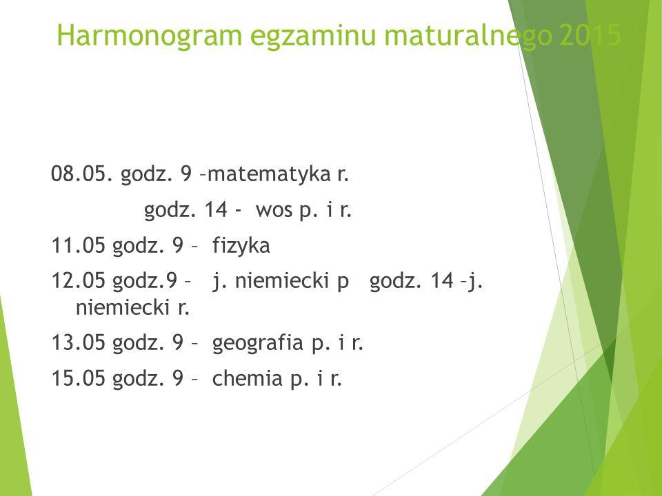 Harmonogram egzaminu maturalnego 2015 08.05. godz.