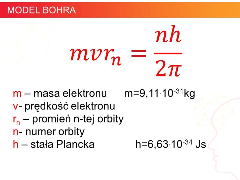 informatyka + 14 MODEL BOHRA m – masa elektronu m=9,11. 10 -31 kg v- prędkość elektronu r n – promień n-tej orbity n- numer orbity h – stała Plancka h