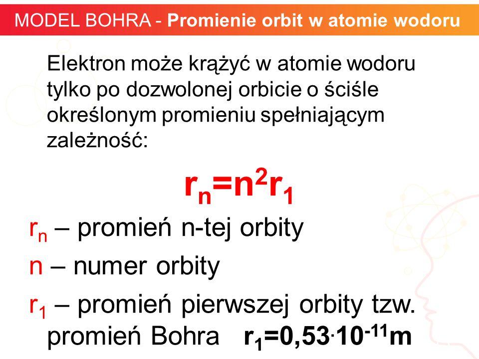 Elektron może krążyć w atomie wodoru tylko po dozwolonej orbicie o ściśle określonym promieniu spełniającym zależność: r n =n 2 r 1 r n – promień n-te