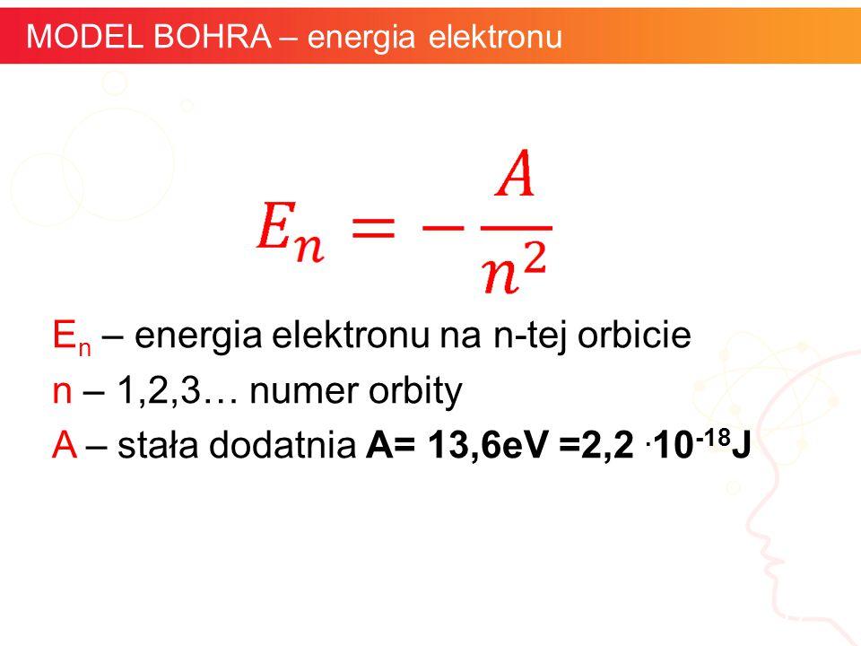 informatyka + 17 MODEL BOHRA – energia elektronu E n – energia elektronu na n-tej orbicie n – 1,2,3… numer orbity A – stała dodatnia A= 13,6eV =2,2. 1