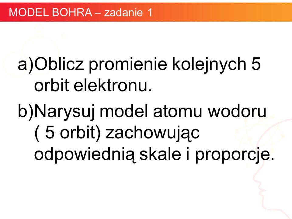 informatyka + 21 MODEL BOHRA – zadanie 1 a)Oblicz promienie kolejnych 5 orbit elektronu. b)Narysuj model atomu wodoru ( 5 orbit) zachowując odpowiedni