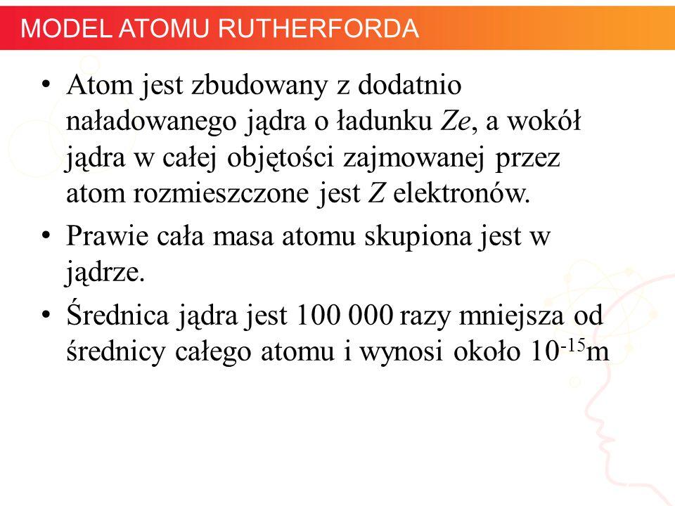 informatyka + 7 MODEL ATOMU RUTHERFORDA Atom jest zbudowany z dodatnio naładowanego jądra o ładunku Ze, a wokół jądra w całej objętości zajmowanej prz