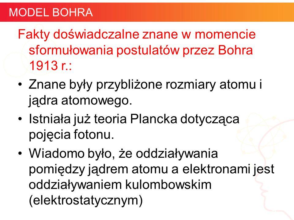 informatyka + 9 MODEL BOHRA Fakty doświadczalne znane w momencie sformułowania postulatów przez Bohra 1913 r.: Znane były przybliżone rozmiary atomu i
