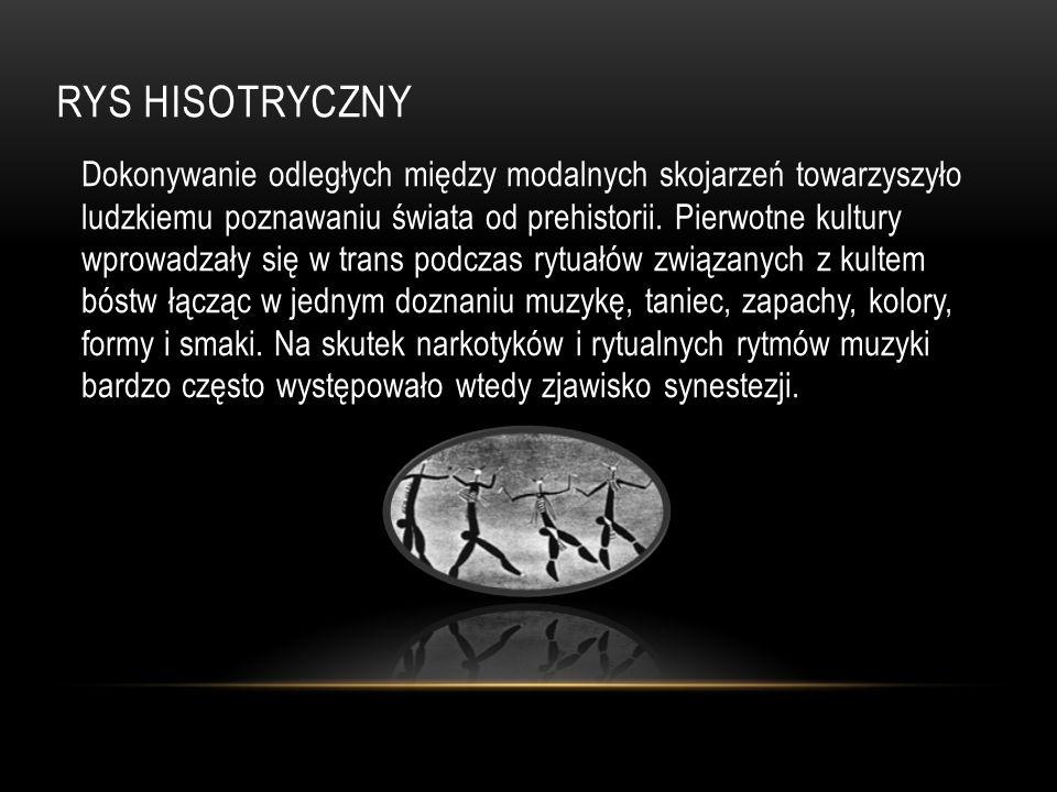 RYS HISOTRYCZNY Dokonywanie odległych między modalnych skojarzeń towarzyszyło ludzkiemu poznawaniu świata od prehistorii.