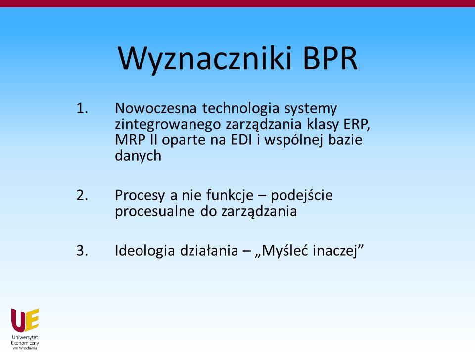 """Wyznaczniki BPR 1.Nowoczesna technologia systemy zintegrowanego zarządzania klasy ERP, MRP II oparte na EDI i wspólnej bazie danych 2.Procesy a nie funkcje – podejście procesualne do zarządzania 3.Ideologia działania – """"Myśleć inaczej"""