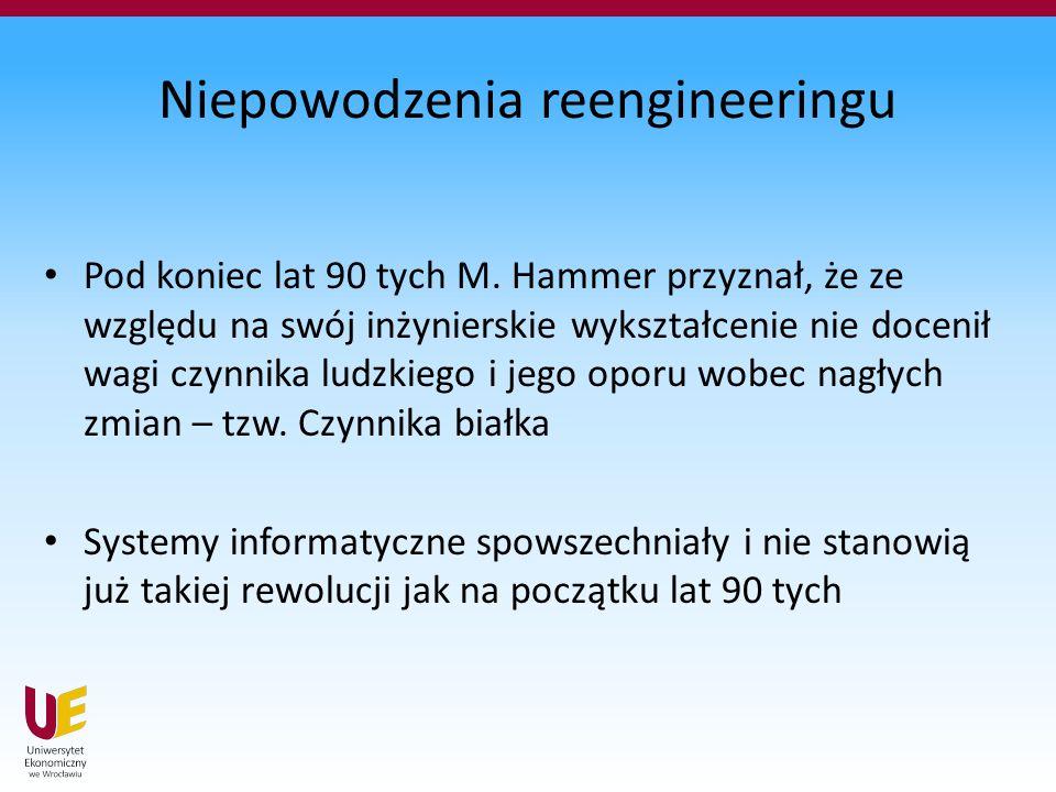 Niepowodzenia reengineeringu Pod koniec lat 90 tych M. Hammer przyznał, że ze względu na swój inżynierskie wykształcenie nie docenił wagi czynnika lud