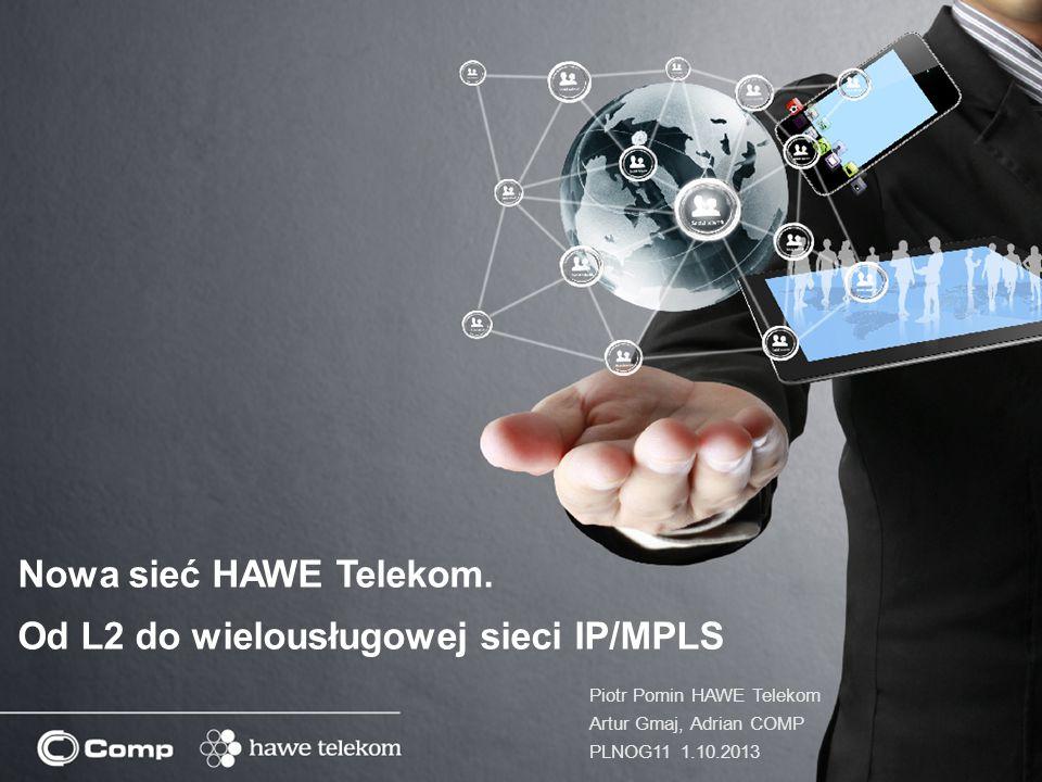 Nowa sieć HAWE Telekom. Od L2 do wielousługowej sieci IP/MPLS Piotr Pomin HAWE Telekom Artur Gmaj, Adrian COMP PLNOG11 1.10.2013