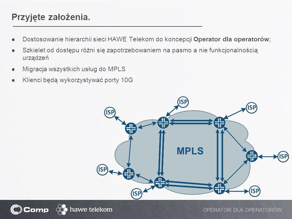 Przyjęte założenia. Dostosowanie hierarchii sieci HAWE Telekom do koncepcji Operator dla operatorów; Szkielet od dostępu różni się zapotrzebowaniem na