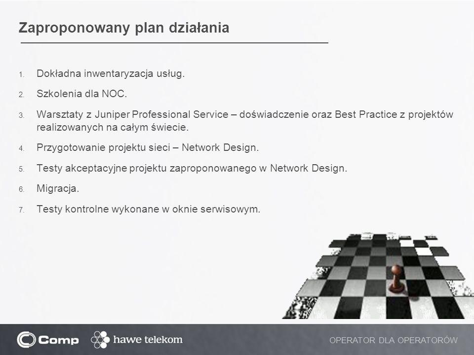 Zaproponowany plan działania 1. Dokładna inwentaryzacja usług. 2. Szkolenia dla NOC. 3. Warsztaty z Juniper Professional Service – doświadczenie oraz