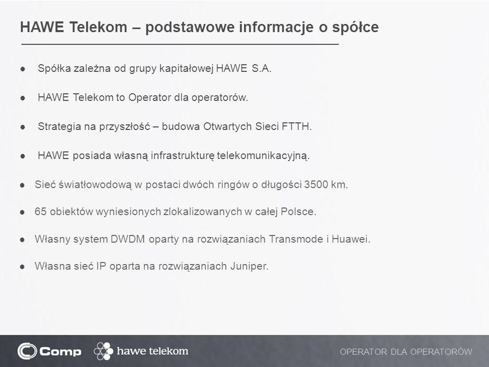 HAWE Telekom – podstawowe informacje o spółce Spółka zależna od grupy kapitałowej HAWE S.A. HAWE Telekom to Operator dla operatorów. Strategia na przy