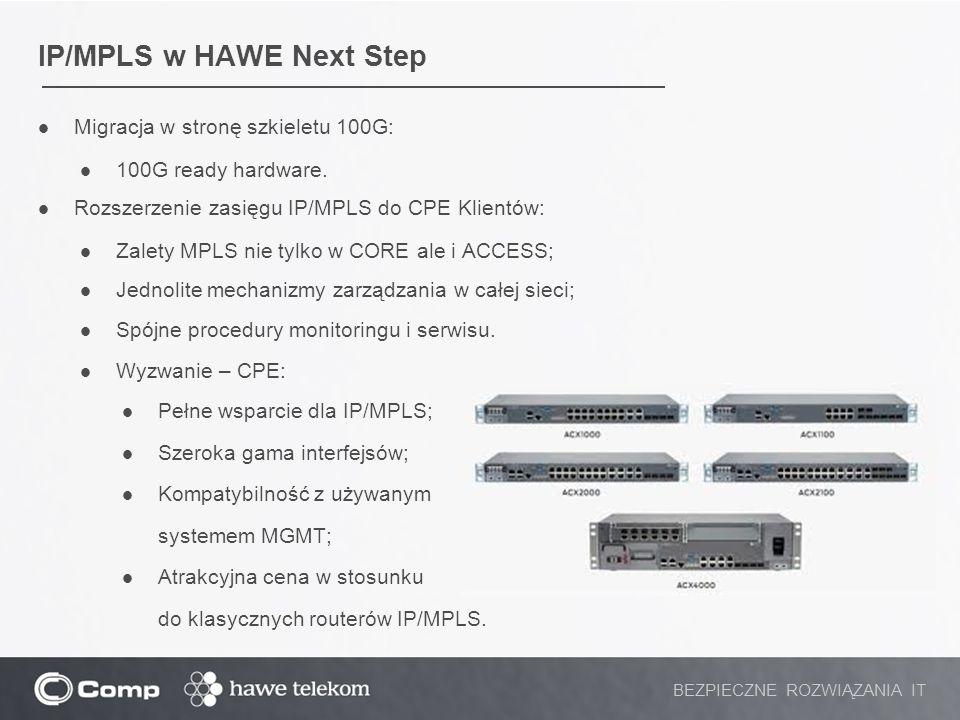 IP/MPLS w HAWE Next Step Migracja w stronę szkieletu 100G: 100G ready hardware. Rozszerzenie zasięgu IP/MPLS do CPE Klientów: Zalety MPLS nie tylko w