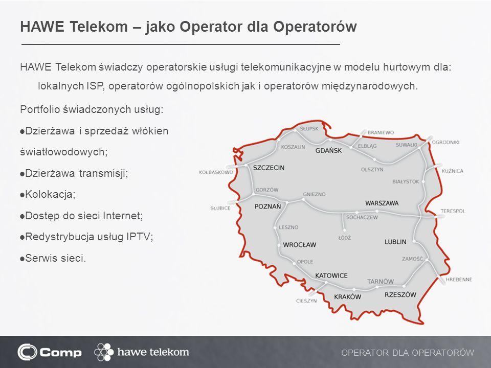 HAWE Telekom – jako Operator dla Operatorów HAWE Telekom świadczy operatorskie usługi telekomunikacyjne w modelu hurtowym dla: lokalnych ISP, operator