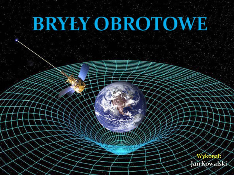 Definicja Bryły obrotowe: To bryły, które są ograniczone powierzchnią powstałą z obrotu figur płaskich dookoła prostej (osi obrotu).