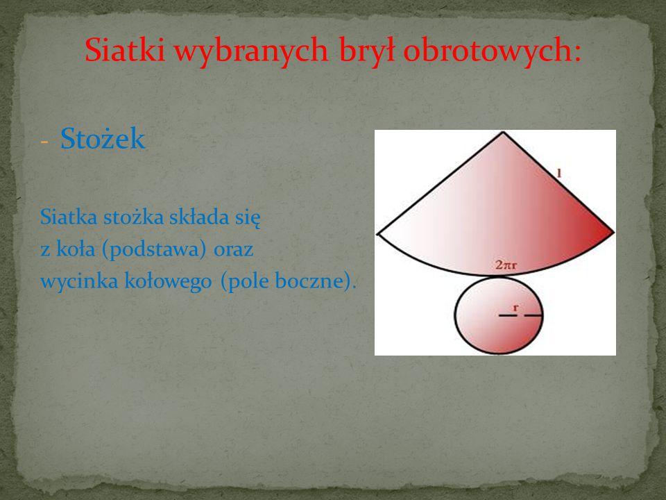 Siatki wybranych brył obrotowych: - Stożek Siatka stożka składa się z koła (podstawa) oraz wycinka kołowego (pole boczne).