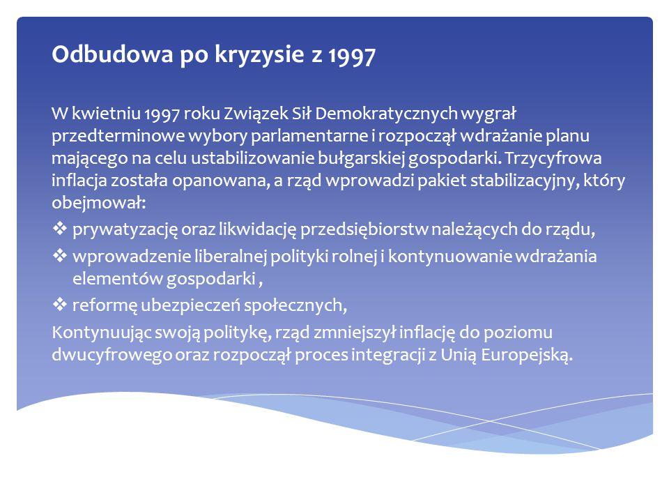 Odbudowa po kryzysie z 1997 W kwietniu 1997 roku Związek Sił Demokratycznych wygrał przedterminowe wybory parlamentarne i rozpoczął wdrażanie planu ma