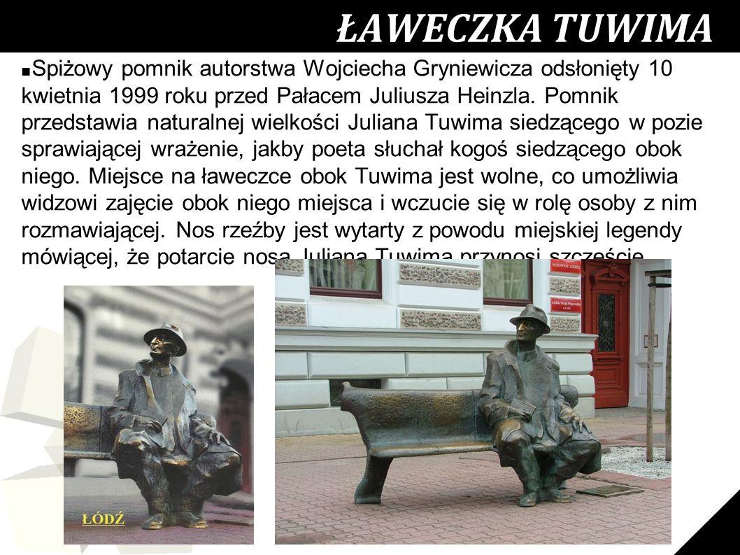 22 ŁAWECZKA TUWIMA ■ Spiżowy pomnik autorstwa Wojciecha Gryniewicza odsłonięty 10 kwietnia 1999 roku przed Pałacem Juliusza Heinzla. Pomnik przedstawi