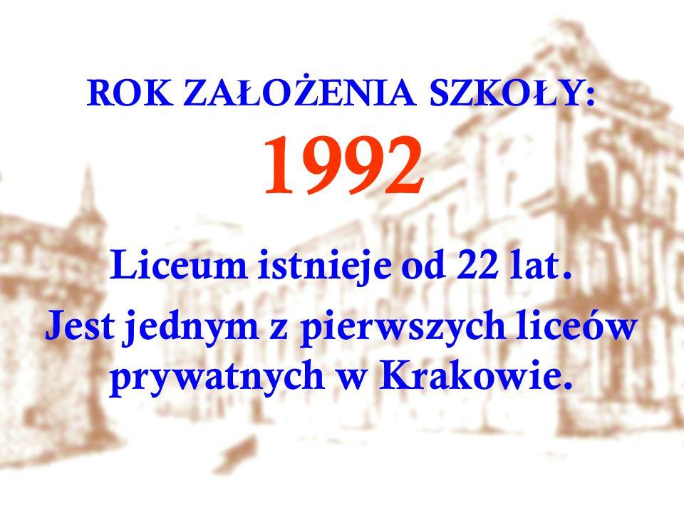 ROK ZA Ł O Ż ENIA SZKO Ł Y: 1992 Liceum istnieje od 22 lat. Jest jednym z pierwszych liceów prywatnych w Krakowie.