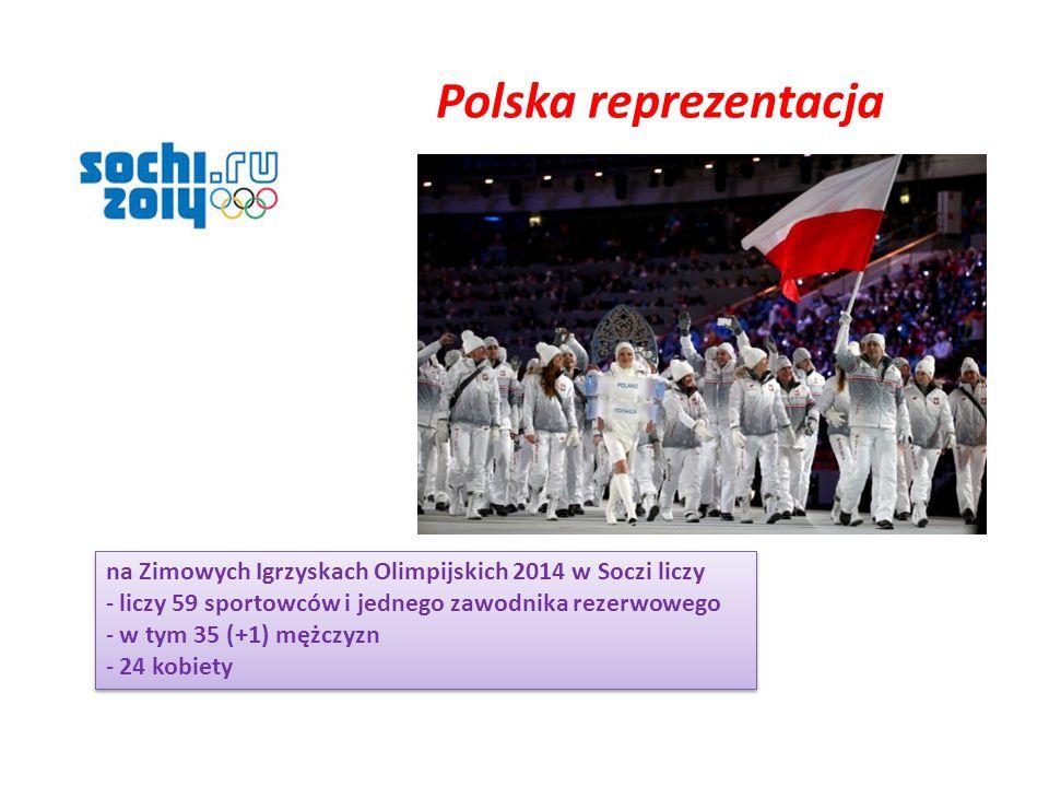 na Zimowych Igrzyskach Olimpijskich 2014 w Soczi liczy - liczy 59 sportowców i jednego zawodnika rezerwowego - w tym 35 (+1) mężczyzn - 24 kobiety na Zimowych Igrzyskach Olimpijskich 2014 w Soczi liczy - liczy 59 sportowców i jednego zawodnika rezerwowego - w tym 35 (+1) mężczyzn - 24 kobiety Polska reprezentacja