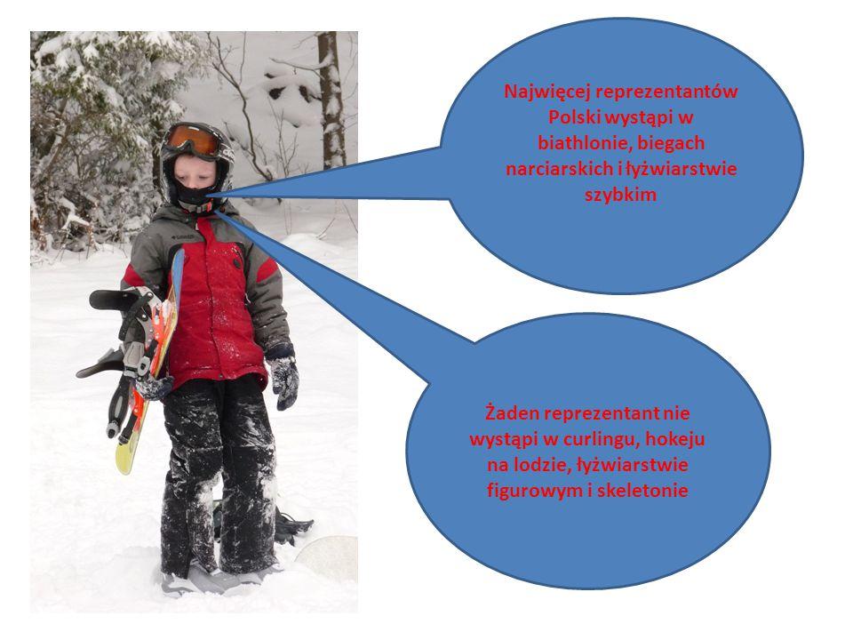 Najwięcej reprezentantów Polski wystąpi w biathlonie, biegach narciarskich i łyżwiarstwie szybkim Żaden reprezentant nie wystąpi w curlingu, hokeju na lodzie, łyżwiarstwie figurowym i skeletonie