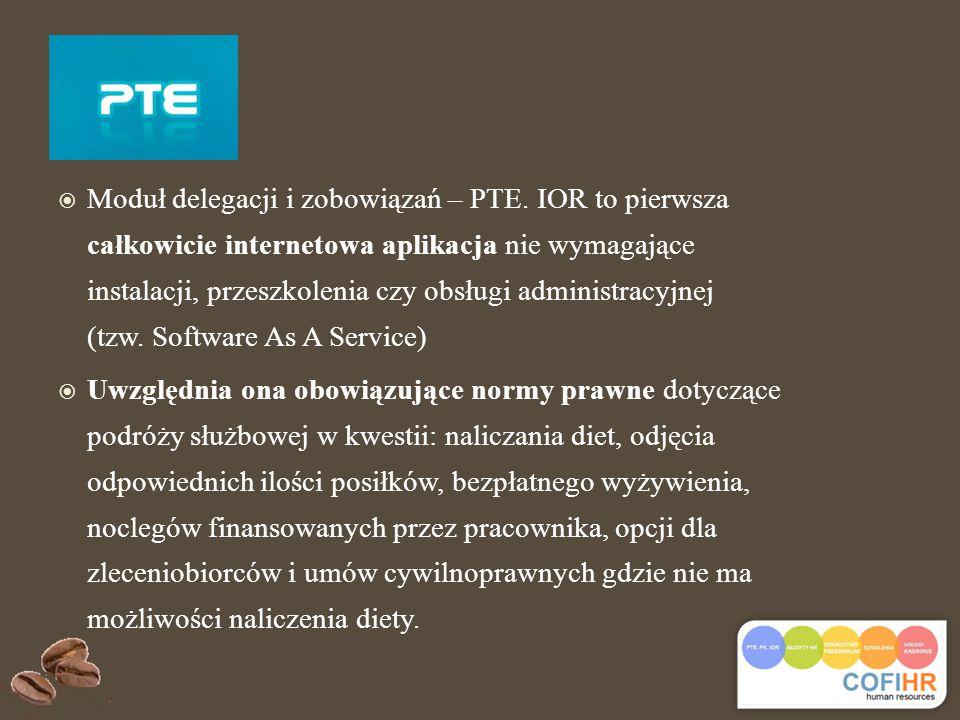  Moduł delegacji i zobowiązań – PTE.
