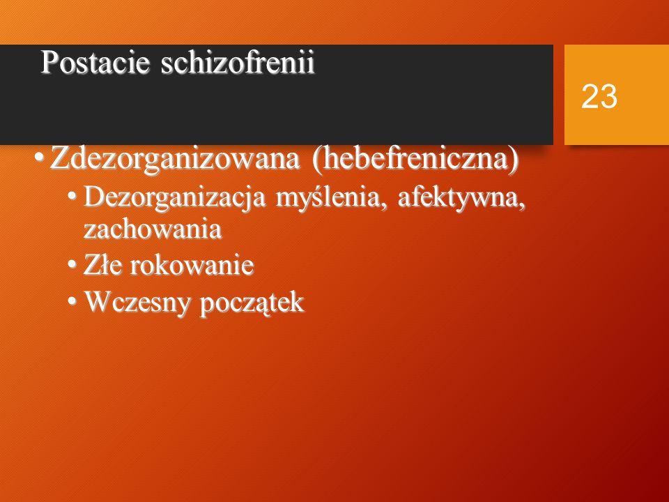Postacie schizofrenii katatoniczna katatoniczna Zaburzenia zachowania ruchowego Zaburzenia zachowania ruchowego Postać hipokinetyczna Postać hipokinetyczna Postać hiperkinetyczna Postać hiperkinetyczna 22