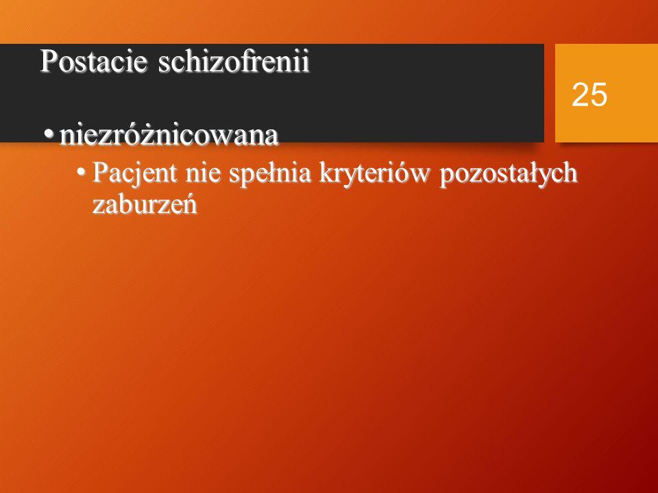 Schizofrenia prosta Tylko objawy osiowe (negatywne) Brak (epizodyczne) objawy dodatkowe (pozytywne) 24