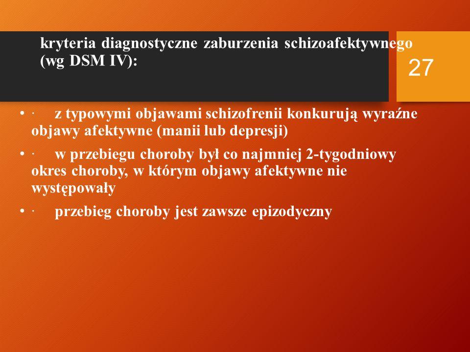 Kryteria diagnostyczne depresji w przebiegu schizofrenii Po-psychotyczne zaburzenie depresyjne w schizofrenii wg DSM-IV Spełnione są kryteria dużego epizodu depresyjnego Duży epizod depresyjny jest dominujący, w czasie jego trwania, nad objawami schizofrenii i występuje w czasie fazy rezydualnej schizofrenii Epizod depresyjny nie jest efektem nadużywania substancji psychoaktywnej lub schorzenia somatycznego Po-schizofreniczna depresja wg ICD-10 Obecność objawów schizofrenii w okresie ostatnich 12 miesięcy Pewne objawy schizofrenii są nadal obecne Depresyjne objawy są znaczące, spełniają kryteria epizodu depresyjnego i trwają co najmniej 2 tygodnie