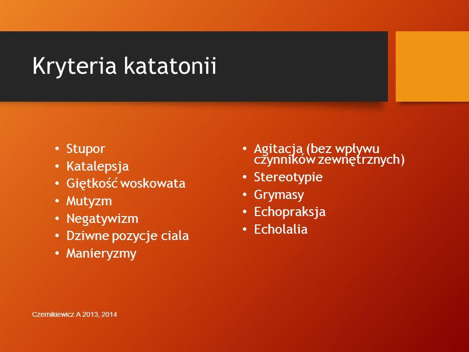 Spektrum schizofrenii i innych zaburzeń psychotycznych ZmianaUzasadnienie Katatonia: Te same kryteria (co najmniej 3 z 12) są używane bez względu na kontekst kliniczny katatonii Katatonia na podłożu dwubiegunowych, depresyjnym, psychotycznym, innym Traktowania katatonii jako powierzchownej maski dowolnego zaburzenia psychotycznego Czernikiewicz A 2013, 2014