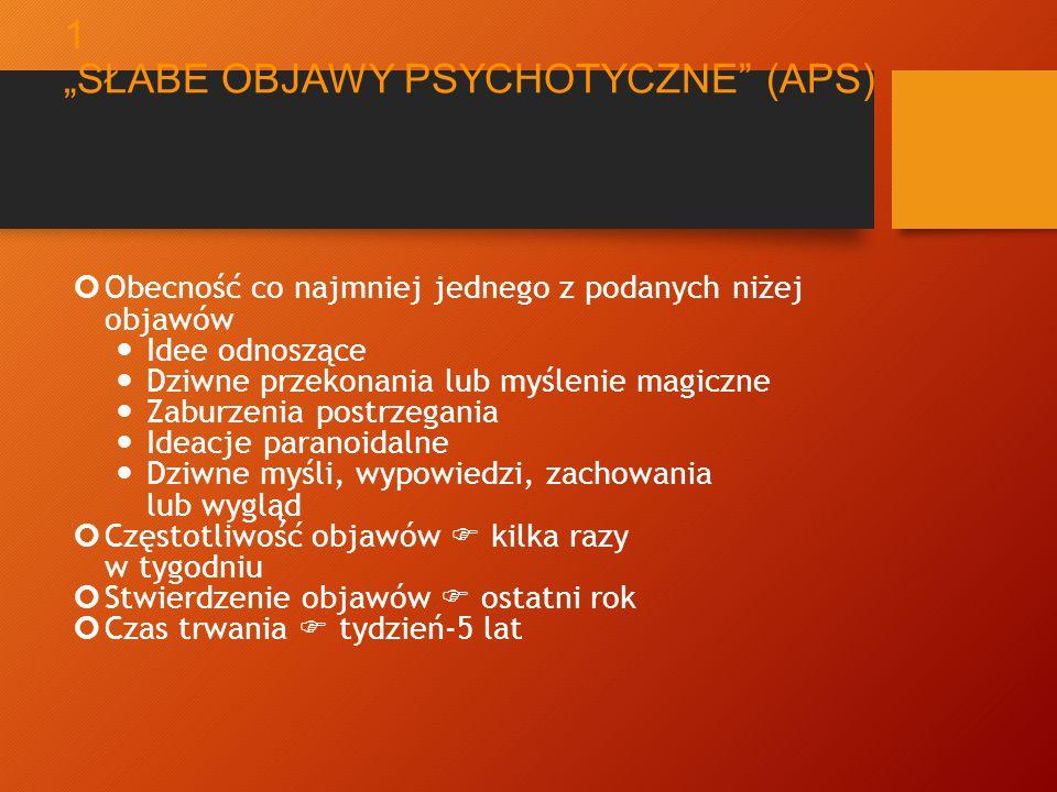"""KRYTERIA DLA GRUPY WYSOKIEGO RYZYKA ROZWOJU PSYCHOZY (ULTRA HIGH RISK - UHR) 1 wiek 14-29 lat """"zgłoszony do specjalistycznej pomocy spełnia kryteria jednej z 3 grup sub-kryteriów 1."""