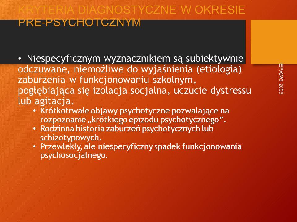 """AKSJOMATY WCZESNEJ INTERWENCJI Faza pre-psychotyczna charakteryzuje się przewlekłością i subtelnymi objawami subpsychotycznymi Większość późniejszych objawów psychozy jest """"kształtowana w tym okresie DUP jest determinantą rokowania IEPAWG 2005"""