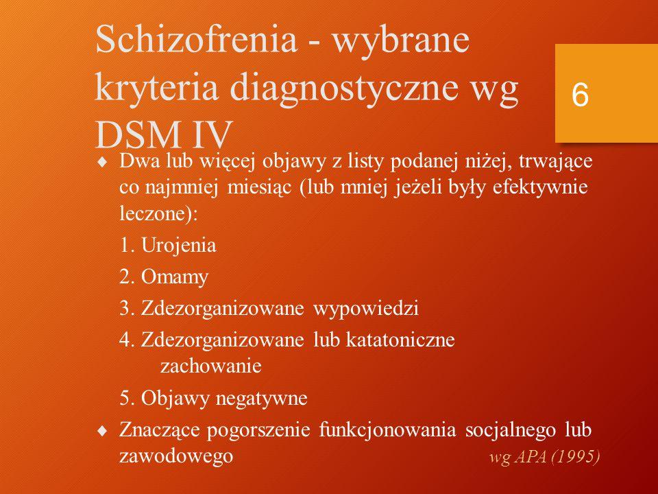 Historia koncepcji Kraepelin (1896) Kraepelin (1896) dementia praecox dementia praecox Bleuler (1911) (grupa schizofrenii) Bleuler (1911) (grupa schizofrenii) schizofrenia = rozszczepienie umysłu schizofrenia = rozszczepienie umysłu 5