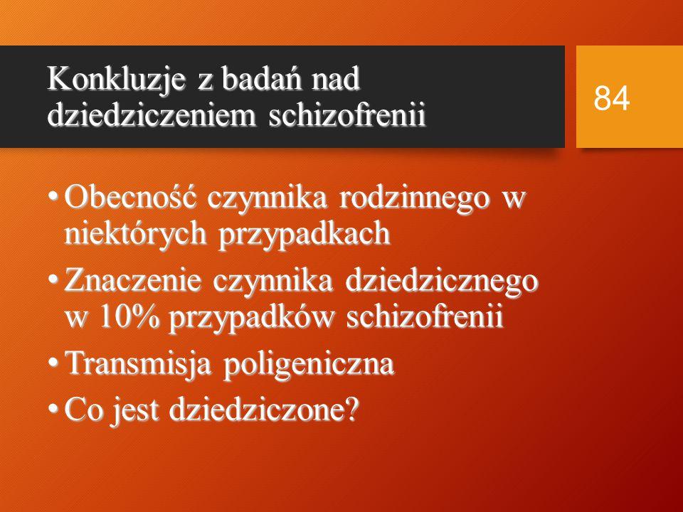 83 Geny i białka synatetyzowane przez nie a schizofrenia i ChAD ChAD Dysbindin (6p) Neuregulin 1 COMT .