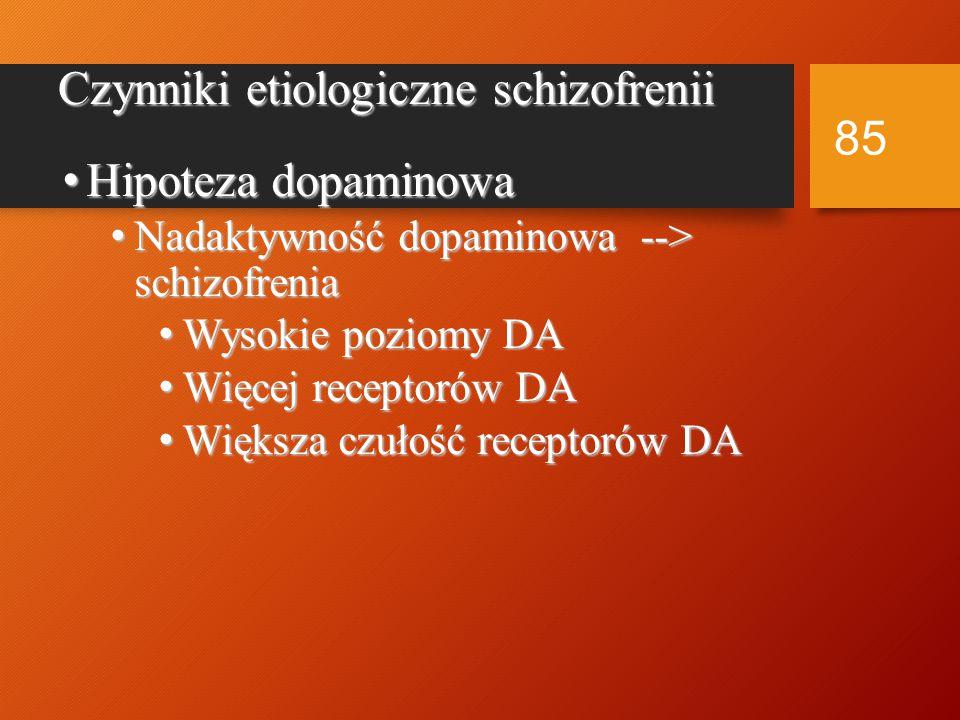 Konkluzje z badań nad dziedziczeniem schizofrenii Obecność czynnika rodzinnego w niektórych przypadkach Obecność czynnika rodzinnego w niektórych przypadkach Znaczenie czynnika dziedzicznego w 10% przypadków schizofrenii Znaczenie czynnika dziedzicznego w 10% przypadków schizofrenii Transmisja poligeniczna Transmisja poligeniczna Co jest dziedziczone.